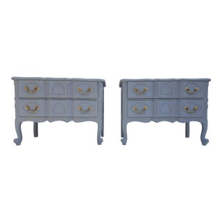 Baker Furniture Serpentine Front French Country Nightstands A Pair