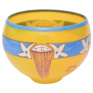 French Art Deco Handblown Glass Bowl Signed by Andre Delatte