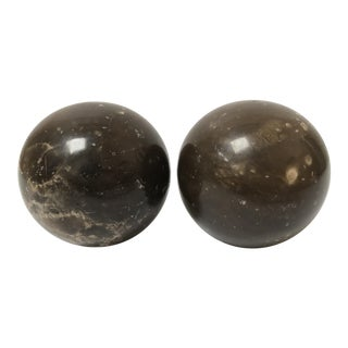 A Pair of Italian Marble Orb Sphere Bookends