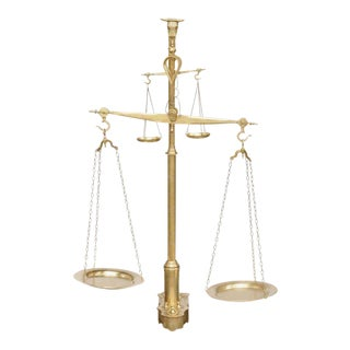 Dutch Large Size Brass Two-Tiered Balance Scale with Weights, circa 1880