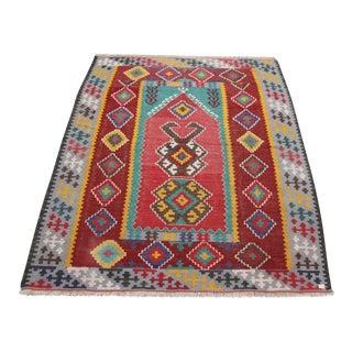 Antique Turkish Wool Kilim Rug - 4′5″ × 6′3″