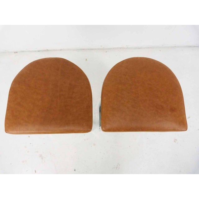 Milo Baughman Style Flat Bar Chrome Cantilever Bar Stools - A Pair - Image 4 of 10