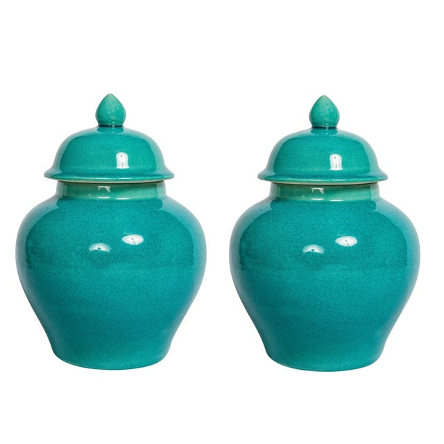 Turquoise Blue Urns - A Pair - Image 1 of 5