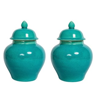 Turquoise Blue Urns - A Pair