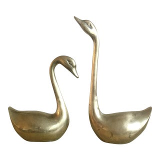 Vintage Art Deco Style Brass Swans - Pair