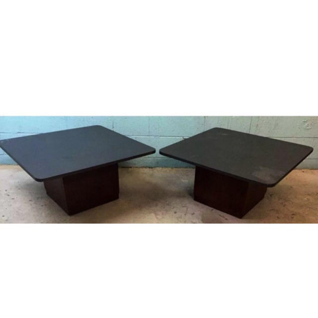 Vintage Slate & Walnut Coffee Tables - A Pair - Image 5 of 5