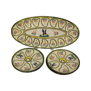 Rare French Quimper Oyster Service - S/7