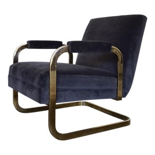 Mid-Century Modern Cantilevered Brass Velvet Lounge Chair