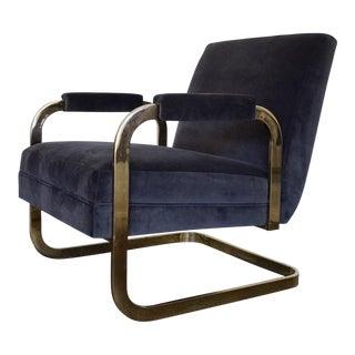 Mid-Century Modern Cantilevered Brass Velvet Lounge Chair