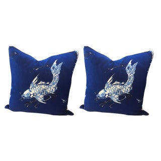 Ralph Lauren Pillows in Cadet Navy Blue & White Koi Linen - a Pair