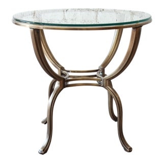 Mastercraft Brass and Glass Round Side Table