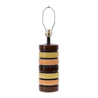 1970s Vintage Mid-Century Modern Striped Column Lamp