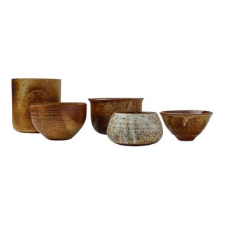 Franco Agnese Set of Five Ceramic Earth Tone Bowls, France, 1960s