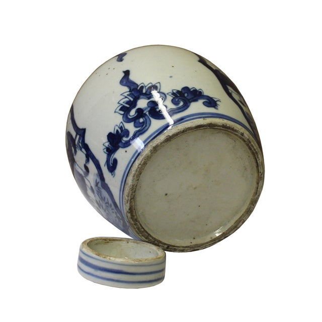 Chinese Oriental Small Blue White Porcelain Ginger Jar - Image 4 of 5