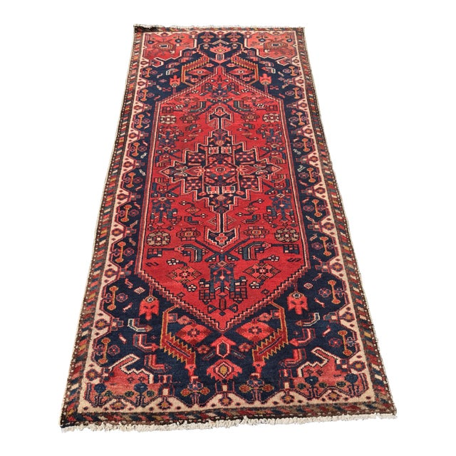 "Vintage Persian Zanjan Short Runner - 2'9"" x 6' - Image 1 of 10"