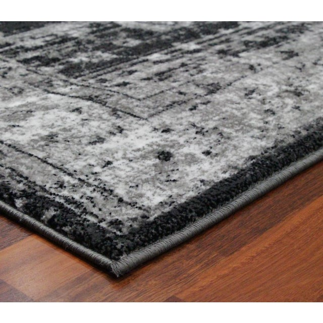 """Vintage Style Distressed Gray Rug- 5'3"""" x 7'7"""" - Image 4 of 5"""