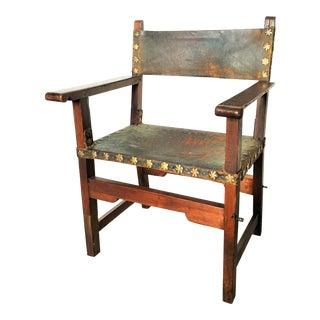 17th Century Hide-Upholstered Walnut Side Chair