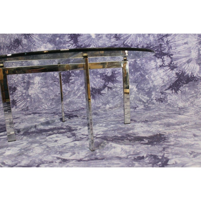 Barcelona Mid-Century Modern Round Glass Top Coffee Table - Image 3 of 4
