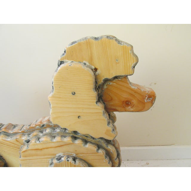 Life Size Wooden Poodle Sculpture - Image 7 of 7
