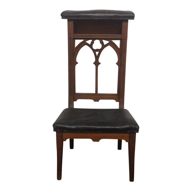 Antique Prie-Dieu Gothic Leather Prayer Chair - Image 1 of 5