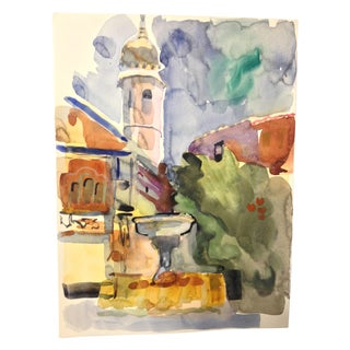 Abstract Building and Fountain Watercolor