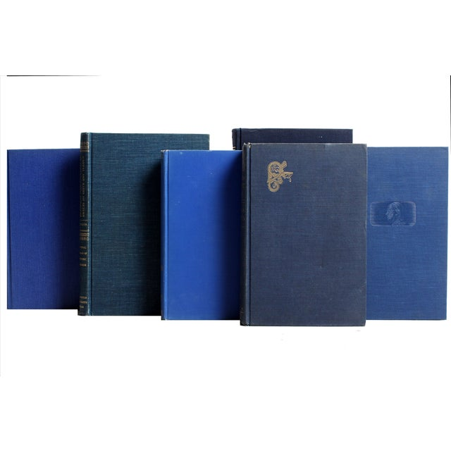 Image of Decorative Gilt Blue Books- Set of 24
