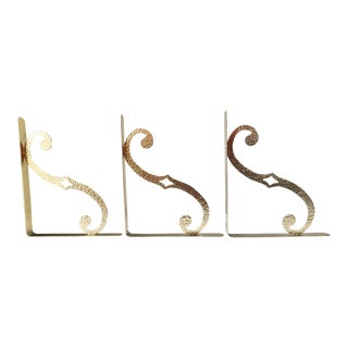 Hammered Brass Shelf Brackets - Set of 3
