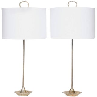 Neoclassical Silver Plated Lamps- A Pair