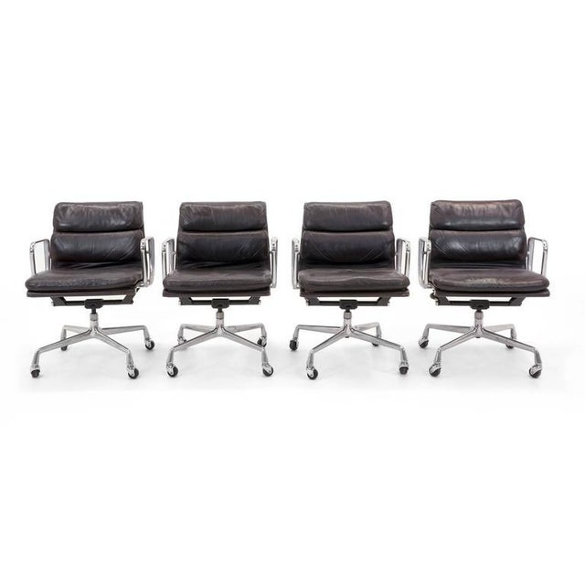 Eames for Herman Miller Leather Soft Pad Aluminum Group Armchairs buy any number - Image 5 of 10