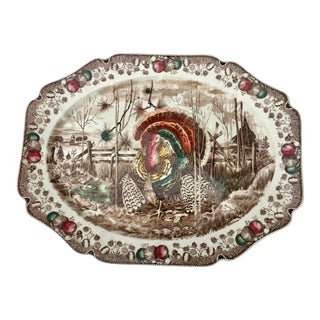 English Transferware Turkey Platter