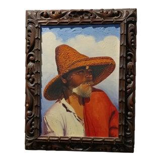 "Marquez Pueblo Native W/Large Straw Hat"" Oil Painting"