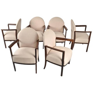 Set of Six Belgian Dining Chairs in Zebra Wood, circa 1930s