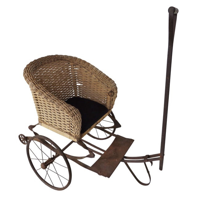 Image of Antique Wicker Childs 2 Wheel Sulky Carriage