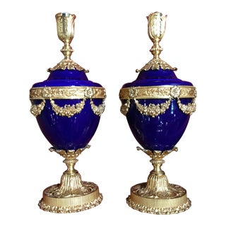 F.B.A.I Italian Cobalt Empire Style Table Lamps - A Pair