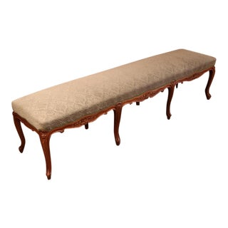 19th Century French Louis XV Carved Walnut Eight-Leg Backless Bench