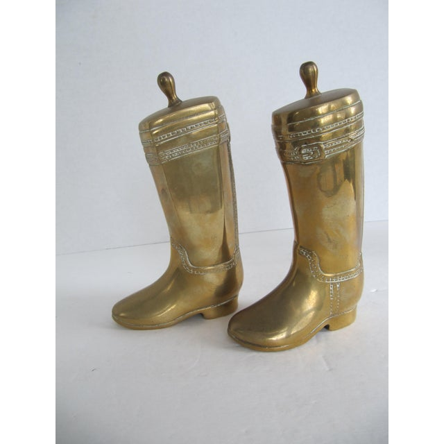 Vintage Brass Equestrian Boot Bookends - A Pair - Image 5 of 9