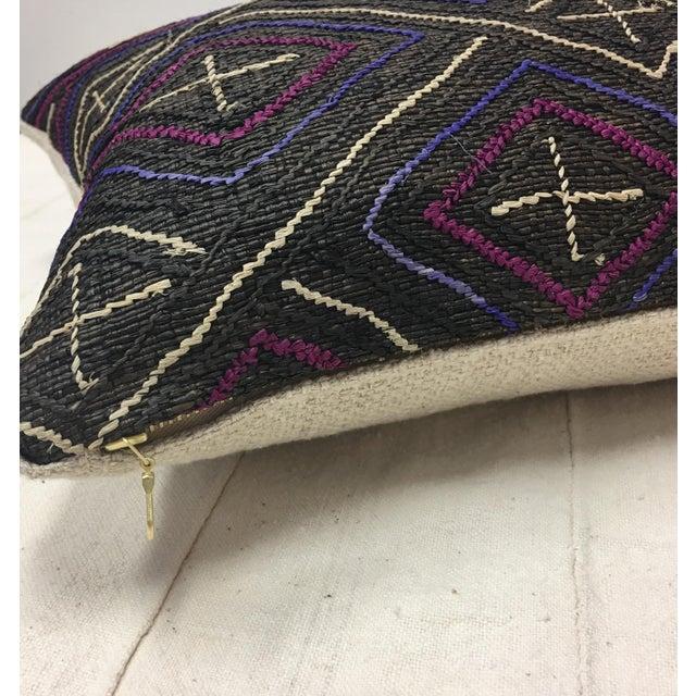 African Kuba Cloth Lumbar Pillow - Image 5 of 8