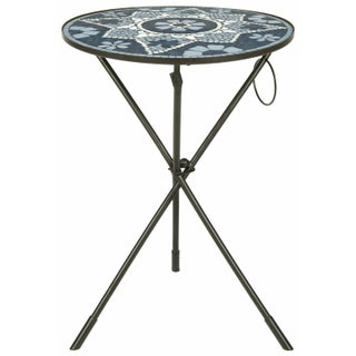 Tripod Side Table with Mosaic Top - Grey and White