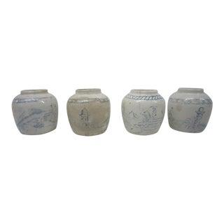 Vintage Chinese Blue & White Jars - Set of 4