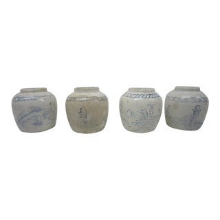 Vintage Chinese Blue & White Jars - Set of 4