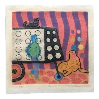 "Liz Schoberlein ""Cart"" Collograph, 1970"