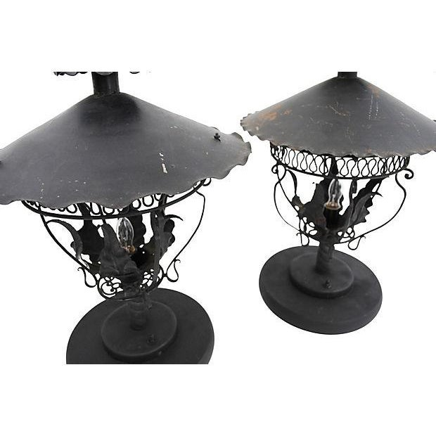 Converted Gas Table Lamps - A Pair - Image 2 of 4
