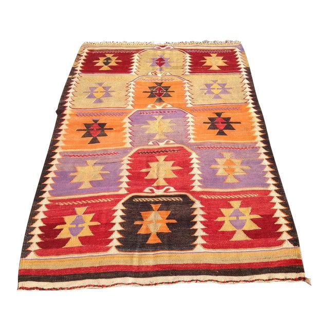Vintage Turkish Kilim Rug - 4′2″ × 6′2″ - Image 1 of 6