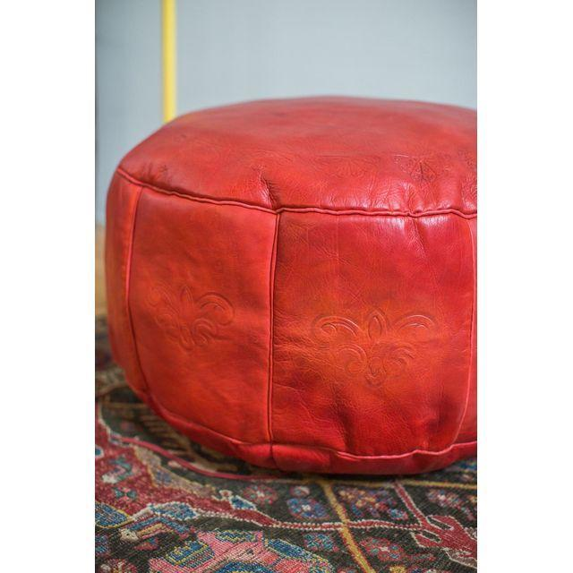 Antique Revival Cranberry Red Leather Pouf Ottoman Chairish