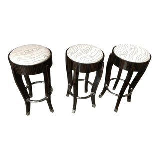 Stunning Set of Three Zebra Wood and Chrome Bar Stools