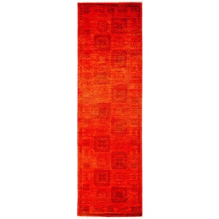 New Overdyed Hand Knotted Runner - 3' x 9'10""