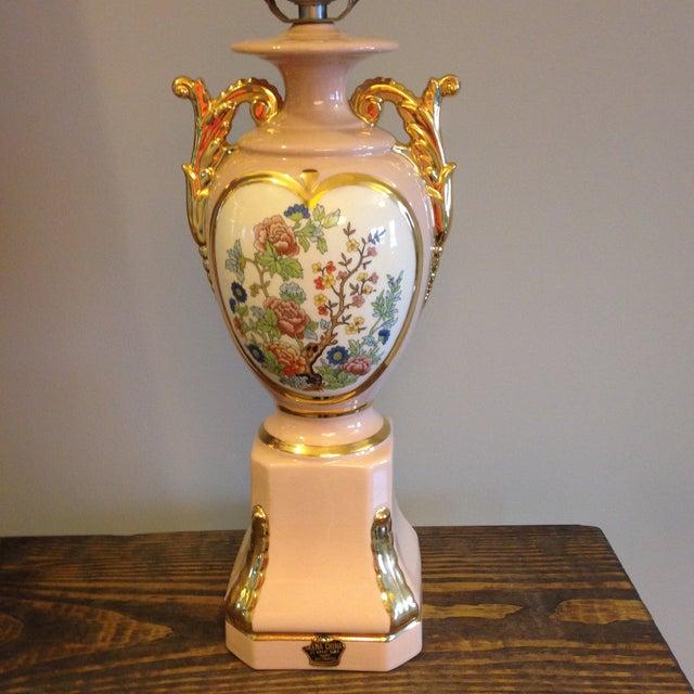 Vintage Blush Colored Deena China Lamp - Image 4 of 11