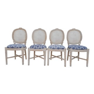 Vintage Faux Bois & Cane Back Dining Chairs - Set of 4