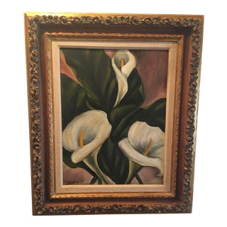 Fabulous Vintage Gilt Framed Floral Calla Lily Oil Painting