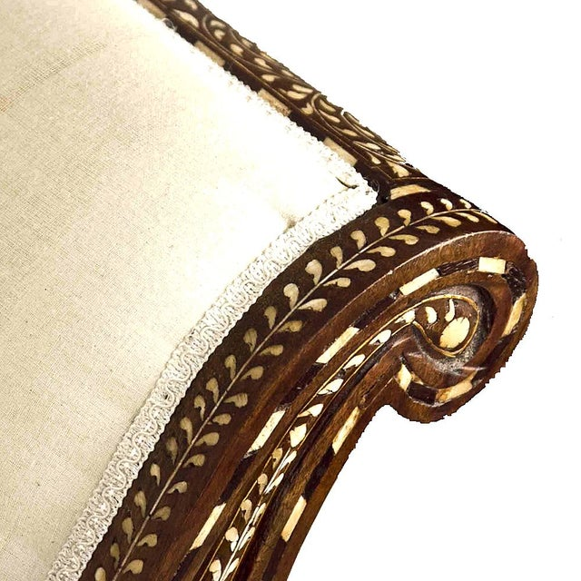Anglo Indian Bone Inlay Chaise Lounge - Image 2 of 4
